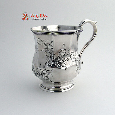 OctagonalCoin Silver Mug Floral Repousse Decorations 1856