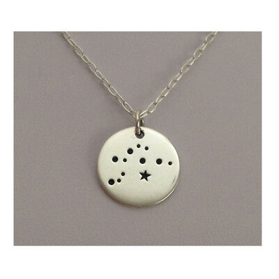 925 Sterling Silver Aquarius Star Sign Zodiac Constellation Pendant Necklace