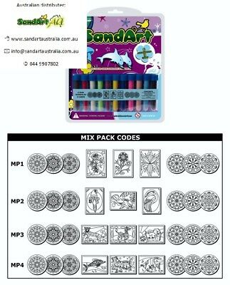 Sand Art Mix Pack 11 Colour Sand & 9 Cards. Great Sand Art Picture for Kids
