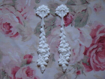 New! Shabby Chic Rose Floral Drops Pair Furniture Applique Architectural