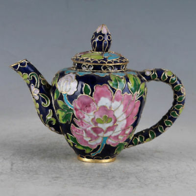 Delicate Chinese Cloisonne Hand-made Flowers Teapot Zw