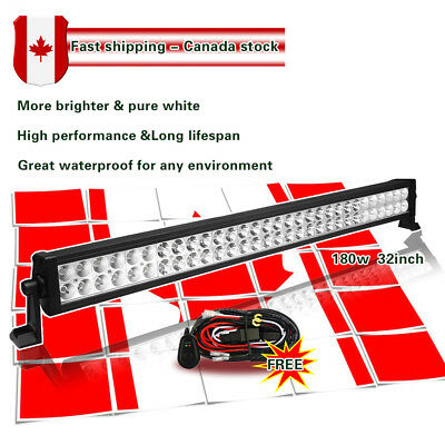 32 Inch LED Light Bar Spot Flood Combo Off road 4WD SUV Jeep Truck + wiring kit