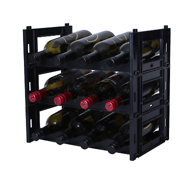 12 Bottle Ezirak BLACK Modular Wine Rack -Free Postage Australia wide