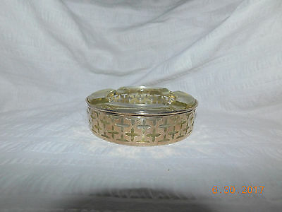 Mid Century Modern Sterling Silver / Glass Ashtray Marked W 3117 42 Grams .925