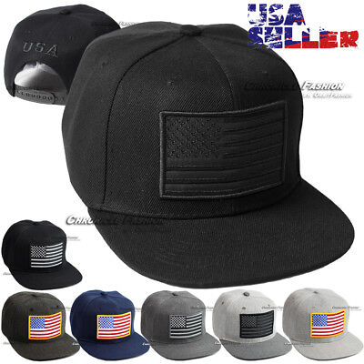 USA Baseball Cap American Hat Flag Snapback Tactical Operator Flat Plain US Caps
