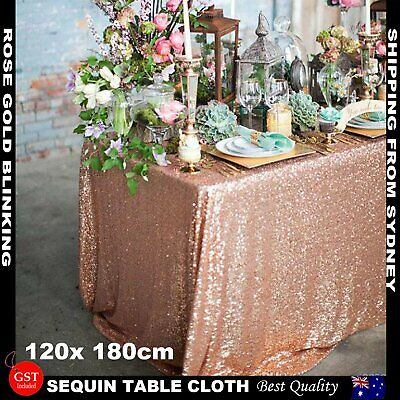 1.8x1.2m Rose Gold Sequin Table Cloth Backdrop Tablecover Party Wedding Event De