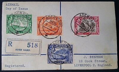 SCARCE 1939 Aden Registd FDC ties 4 stamps canc Aden Camp to England