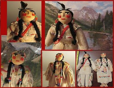 """PAIR OF VINTAGE PLAINS INDIAN DOLLS wonderful beadwork and characterization 9"""""""