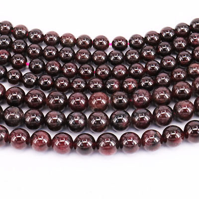 "16"" Strand Garnet Gemstone Spacer Loose Beads For Jewelry Making DIY 4/6/8/10MM"