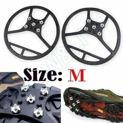 Anti Slip Over Shoe Studded Snow Ice Grips Shoes Boots Crampons Cleats Cover M