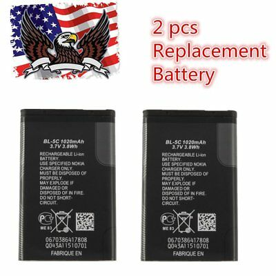 2x Replacement Battery Lithium 1020mAh 3.7V 3.8 wh for Nokia BL-5C Lithium Ion B