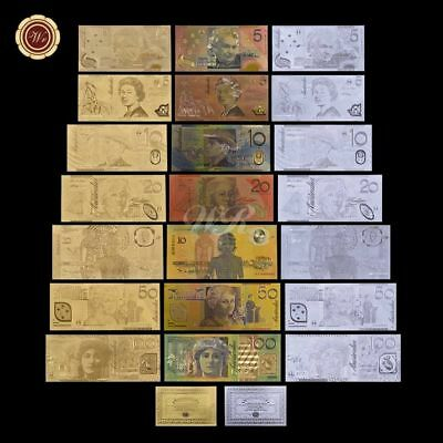 WR 999 24K GOLD SILVER Colored Australia Latest Bank Note Set Rare Banknote Gift