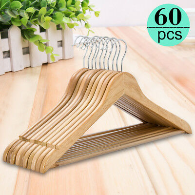 60Pcs Solid Wooden Clothes Hangers Coat Pant Suit  Wardrobe hangers Wood Bulk