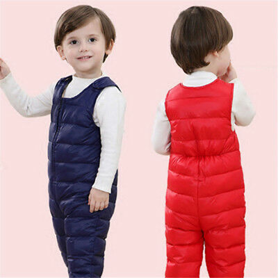 Kids Girls Boys Padded Cotton Down Pants Winter  Warm Trousers Overalls jumpsuit
