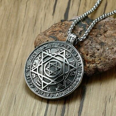 Talisman Hexagram Solomon Amulet Pendant Necklace kabbalah Hermetic Jewelry
