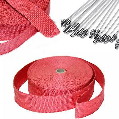 20M Heat Header Wrap Exhaust Downpipe High Temp Insulating Manifold Rap Tape Red
