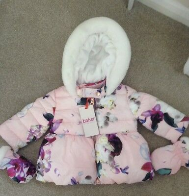 Ted Baker Floral Padded Coat with Mittens - 3-6 months