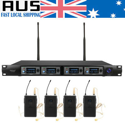 Professional 4 Channel UHF Wireless Microphone System Mic with Headset KTV