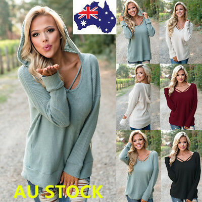 Women V Neck Strappy Hooded Long Sleeve Shirt Blouse Casual Loose Crop Tops Tee