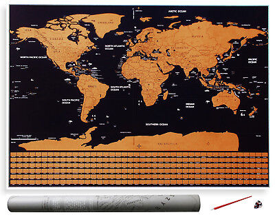 Large Scratch Off Map of the World Poster with US States and Country Flags