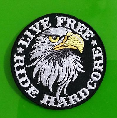 """live Free Ride Hard Core"" Embroidered Patch Motorcycle Biker Rockabilly Hog"