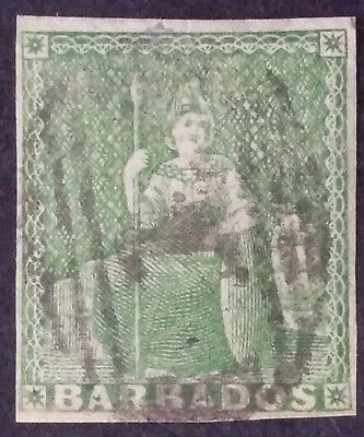 RARE 1855- Barbados 1/2 d yellow green Britannia stamp Imperf Used