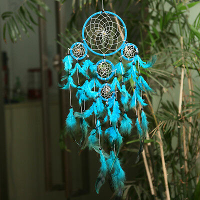 Handmade 1 pc Blue Feather Dream Catcher  Wall Hangings Home Decorations