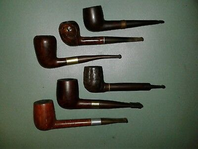 Lot of 6 Vintage Unbranded Smoking Tobacco Estate Pipes, Nice Mix