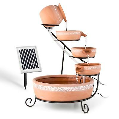Solar Water Fountain Home Indoor Decor 2 W Led 5 Bowls Outdoor Patio Summer