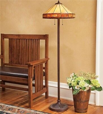 Plow&Hearth Tiffany-Style Stained Glass Mission Style Floor Lamp Free Shipping