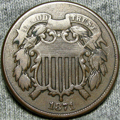 1871 Two Cent Piece Type Coin       ----  VERY RARE LOW MINTAGE  ---- #Z874