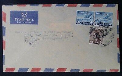 1959 Iraq Airmail Cover ties 3 stamps canc Baghdad to Salzburg Germany