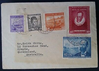 1948 Chile Cover ties 5 stamps canc Recreo to Gympie Australia