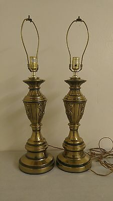 Beautiful Vintage Pair Polished Brass Table Lamps 27 1 2 Rare Set