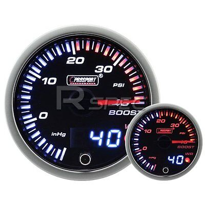 JDM 60mm Smoked Style 40 PSi Boost Dual Stepper Motor Gauge with warning