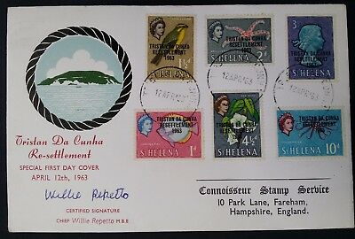 1963 Tristan da Cunha Resettlement Willie Repetto Signature FDC ties 6 stamps