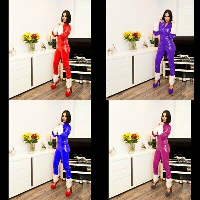 3e3321f4dcf SEXY MISS SANTA RED PVC CATSUIT BLUE BLACK WHITE GREEN 6-16 UK New With