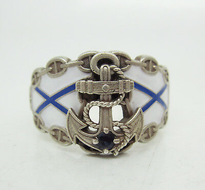 Russian Imperial 88 Silver Enamel  NAVY Ring with Sapphire