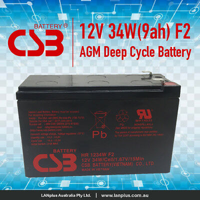 CSB HR1234W F2 12V 34W (9Ah) High Rate Sealed Lead Acid APC UPS Battery Warranty