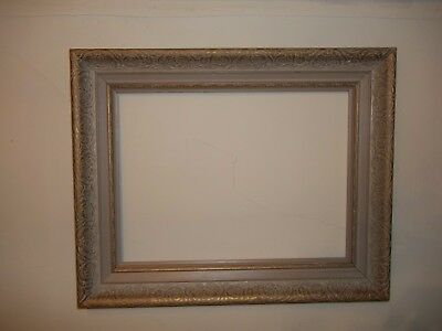"""Vintage Wood French Picture Frame Carved Ivory & Gold 20.75"""" X 16.75"""""""