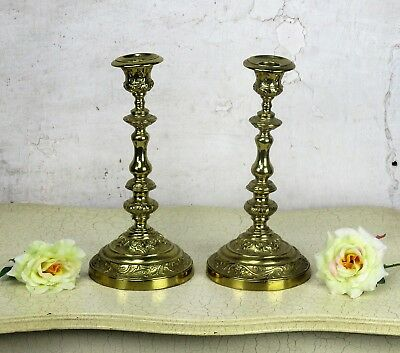 Antique Vintage Couple pair Church Altar Ornate Brass Candle Holders
