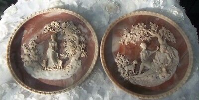 Pair of Round Wall Plaques Plates by Gayle Bright Appleby #01442 & #09854