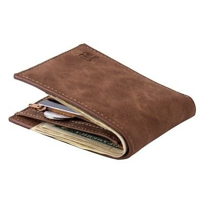 Mens Leather Bifold Wallet ID Credit Card Holder Zipper Coin Purse Clutch Case