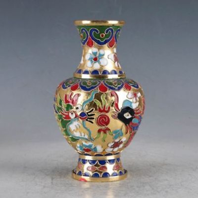 Delicate Chinese Cloisonne Hand-painted Dragon&Phoenix Vase Zw