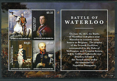 Antigua & Barbuda 2015 MNH Battle of Waterloo 4v M/S Napoleon Wellington Stamps