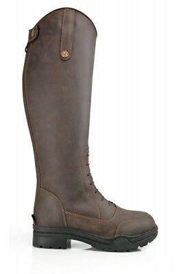 Brogini Montagne Oiled Leather Faux Fur Lined Country Riding Boots Brown