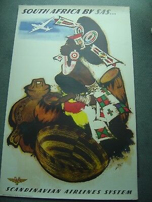 Original Vintage Poster - South Africa by SAS - Scandinavian Airlines  System