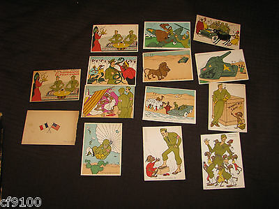 12 US Army Approved Humoristic Postcards - WWII era w/ covers unused