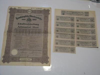 WW1 German City of Hamburg 10,000 Mark War Reparations 4 1/2% Bond, 1919