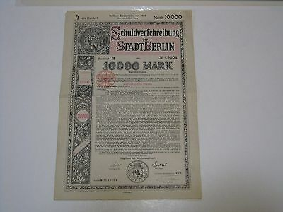 WW1 Berlin German War Reparations Bond, 10,000 Marks, 1920